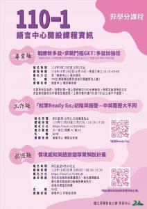 110-1語言中心開設【英文(學分/非學分)課程】現正招生中